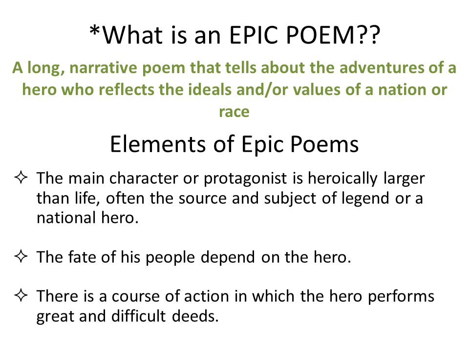 What Is An Epic Poem Elements Of Epic Poems Ppt Video
