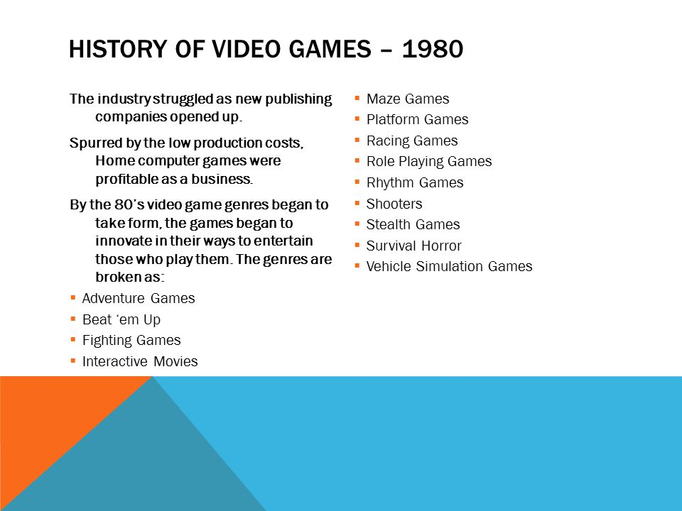 an introduction to the history of playing computer games This unit provides an introduction to the design and study of computer and  console  topics covered include: the history of games the cultural and  aesthetic study of  the assessment includes a project using a game  development package.