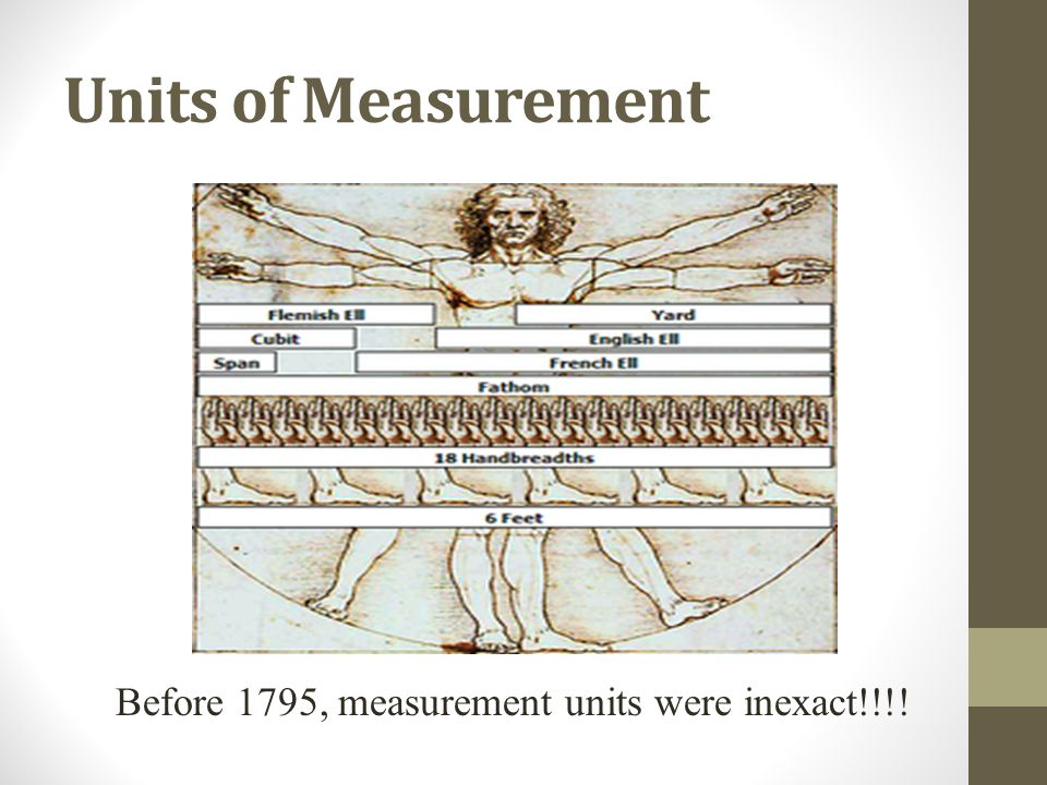Units of Measurement Before 1795, measurement units were inexact!!!!