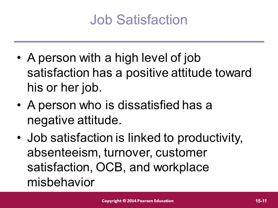 Job Satisfaction A person with a high level of job satisfaction has a positive attitude toward his or her job.