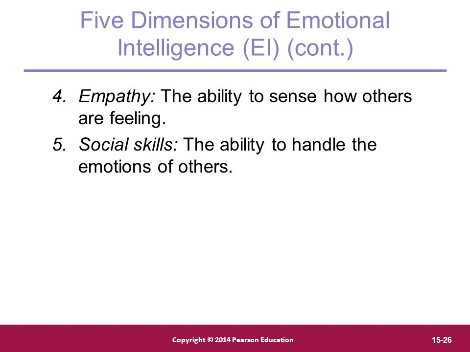 Five Dimensions of Emotional Intelligence (EI) (cont.)