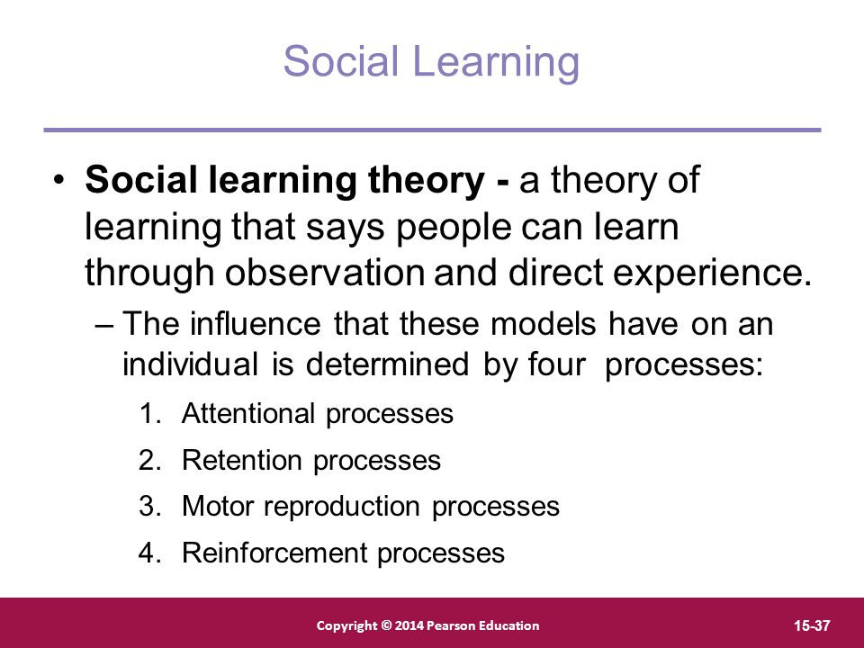 Social Learning Social learning theory - a theory of learning that says people can learn through observation and direct experience.
