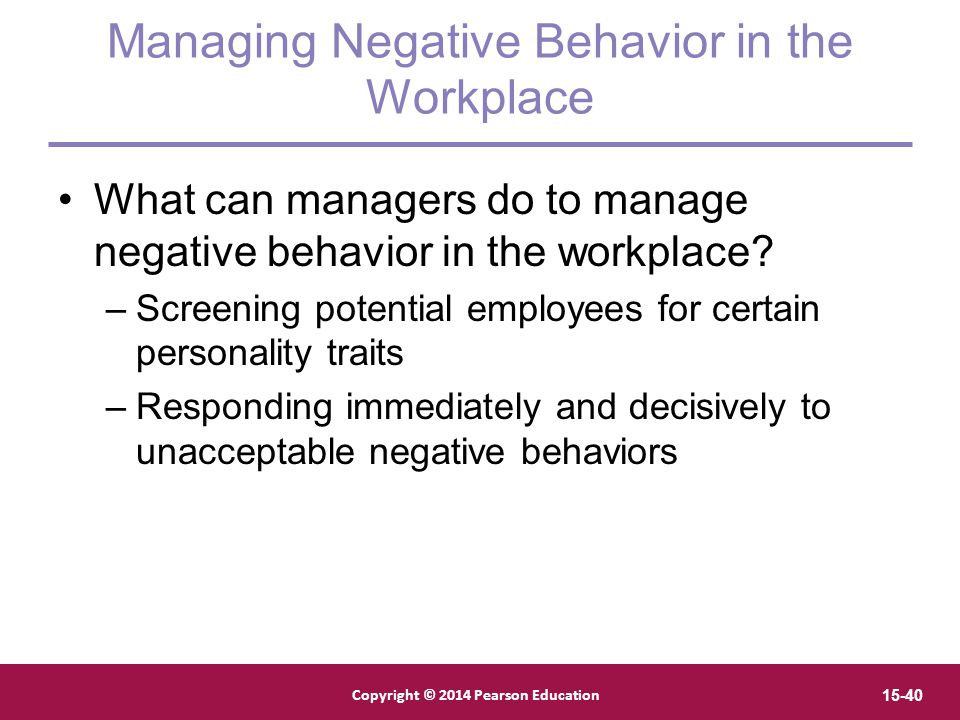 Managing Negative Behavior in the Workplace