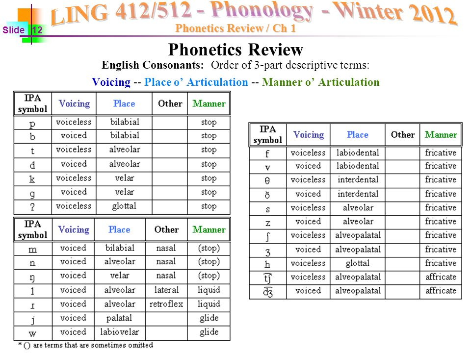 phonetics quiz The quiz will be given in class on m jan 22 you will have a chance to ask questions in class on w jan 17 the hayes (2009, ch 1) reading will help you review these concepts if necessary the list of phonetics review links may also help you study.