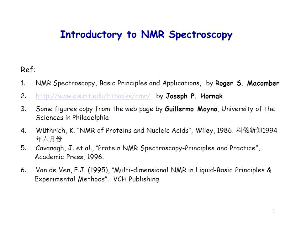 Introductory To Nmr Spectroscopy Ppt Video Online Download
