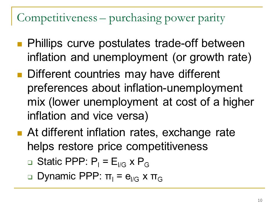 inflation and power parity level In this lab we discover how unit root tests can be applied to test the validity of the purchasing power parity theorem the theorem says that a currency should depreciate by the difference between the.