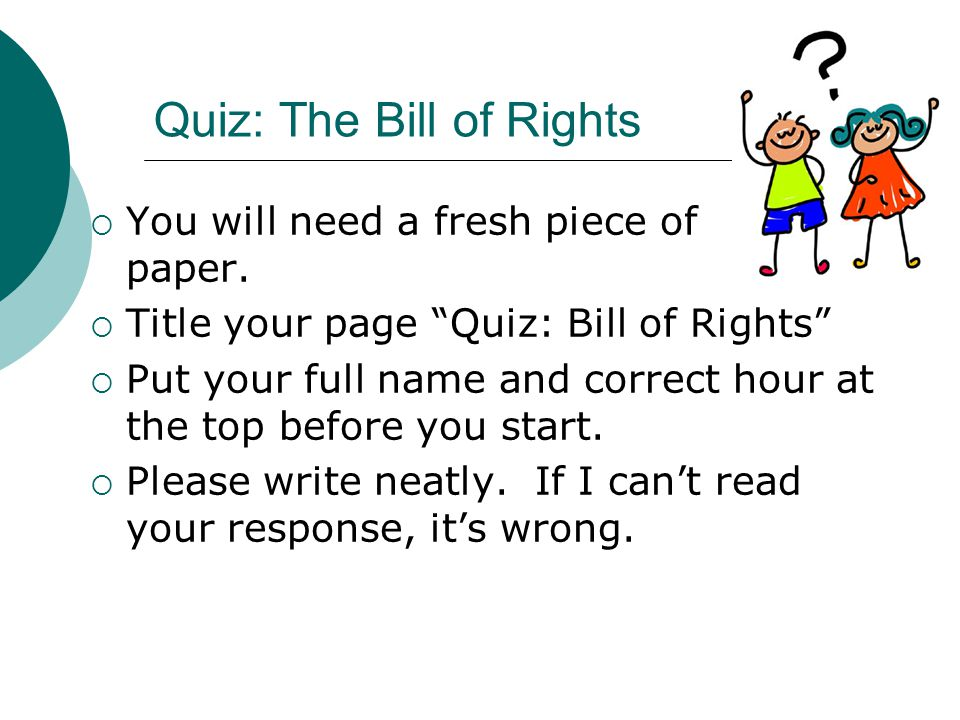 Assignment 3: Bill of Rights