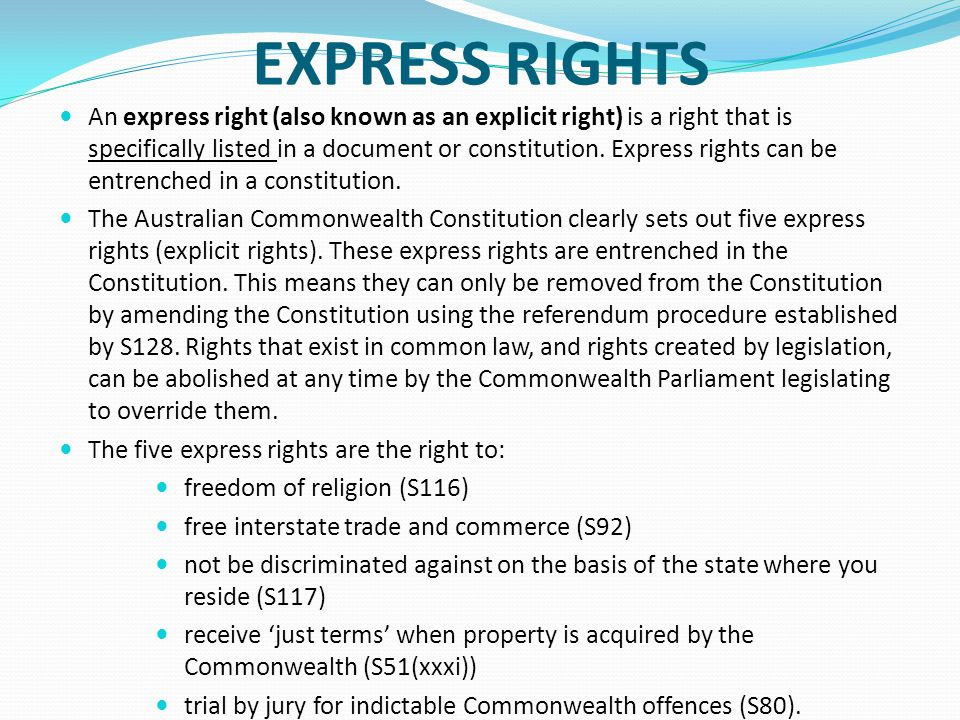 EXPRESS RIGHTS