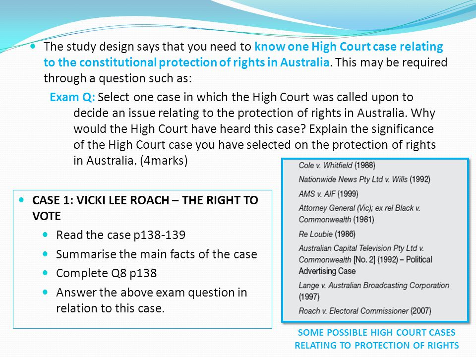 SOME POSSIBLE HIGH COURT CASES RELATING TO PROTECTION OF RIGHTS