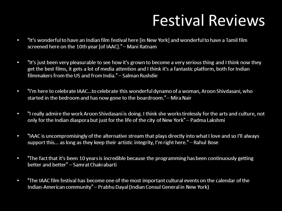Festival Reviews