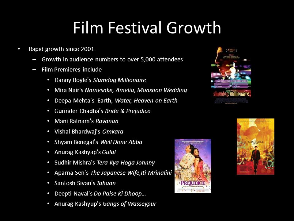 Film Festival Growth Rapid growth since 2001