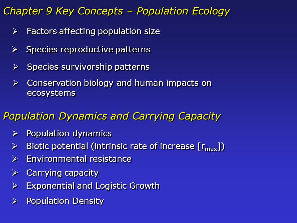 Chapter 9 Key Concepts – Population Ecology