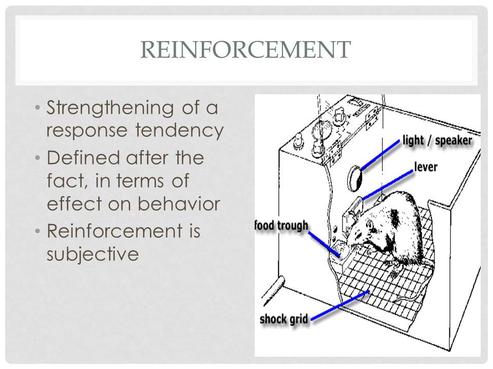 REINFORCEMENT Strengthening of a response tendency