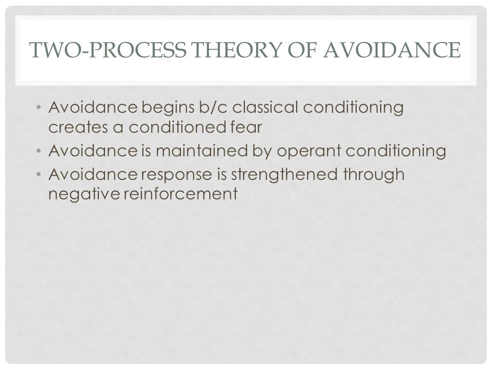 TWO-PROCESS THEORY OF AVOIDANCE