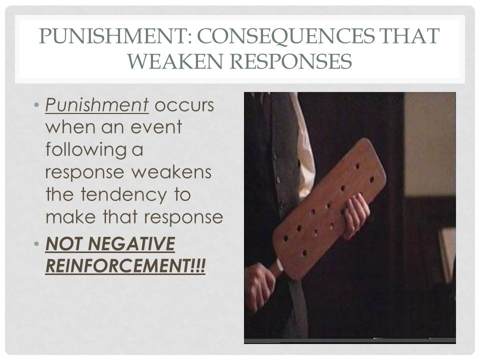 PUNISHMENT: CONSEQUENCES THAT WEAKEN RESPONSES