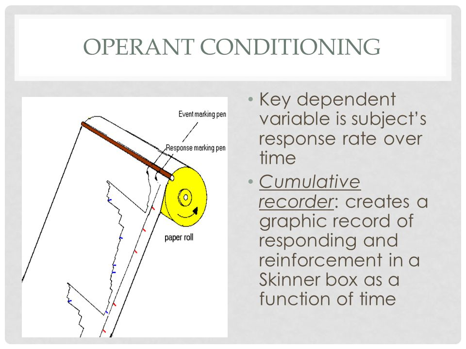 OPERANT CONDITIONING Key dependent variable is subject's response rate over time.