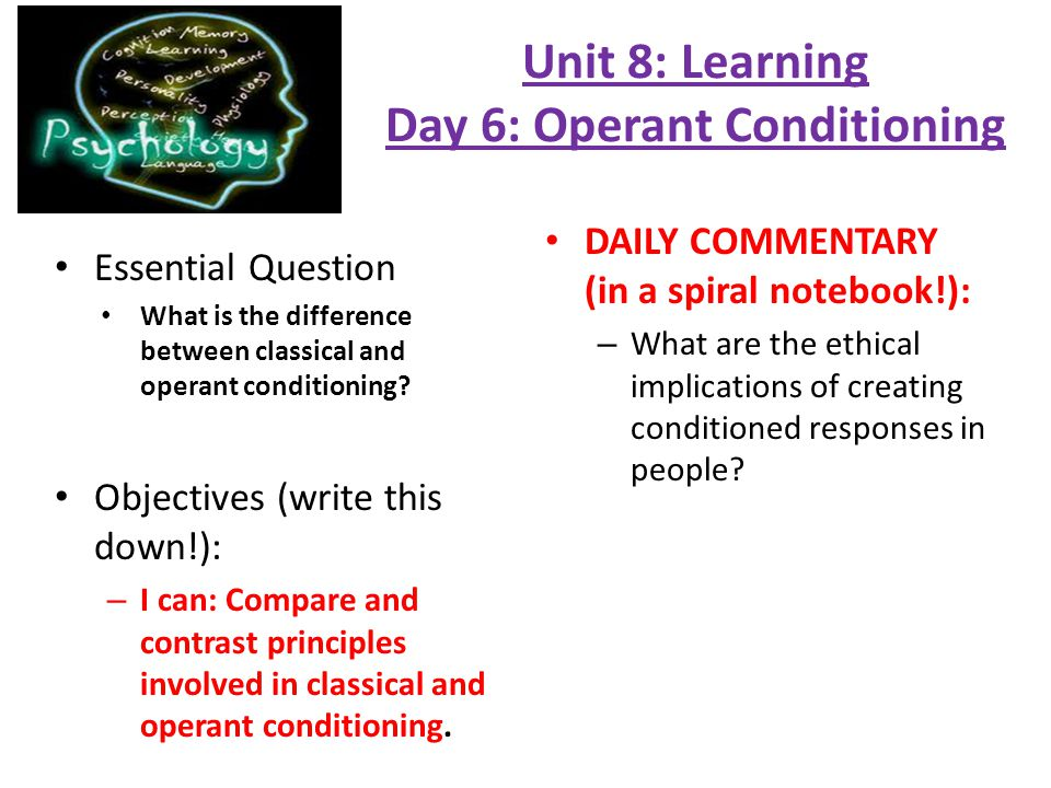essay about operant conditioning Explain how the specific type of conditioning worked in the situation and why it was selected over the other type of conditioning for the situation.