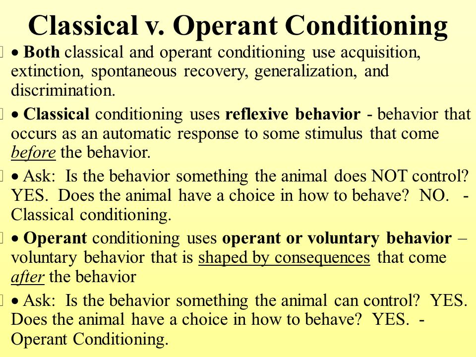 classical conditioning paper 2 - applications paper: the paper presented is aimed at demonstrating the primary principals behind classical conditioning by using a real life example the textbook theory can be applied to a hypothetical patient suffering from a sleep disorder possibly somewhat brought on by a 'learnt' experience.