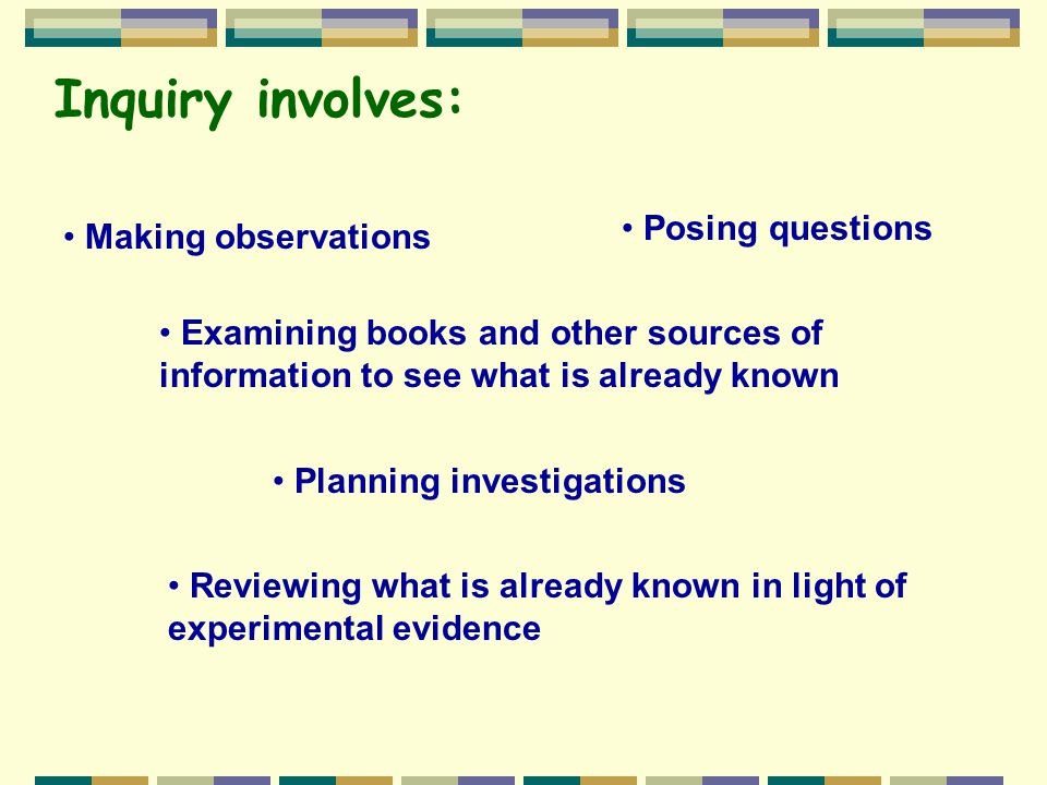 Inquiry involves: Posing questions Making observations