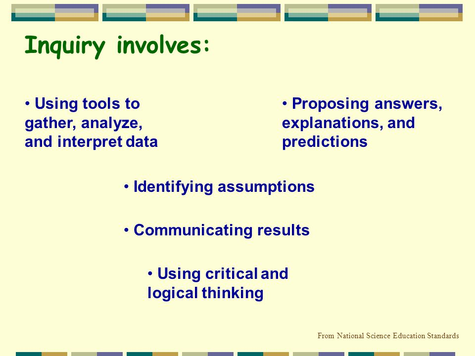 Inquiry involves: Using tools to gather, analyze, and interpret data