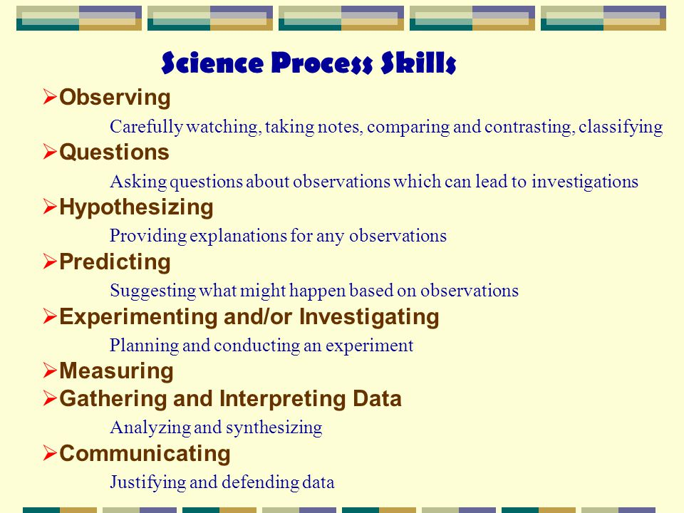 thesis on science process skills How can we understand our water resources teaching the science process skills what are the science process skills s cience and teaching students about.