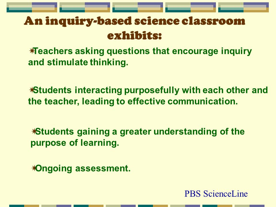 An inquiry-based science classroom exhibits: