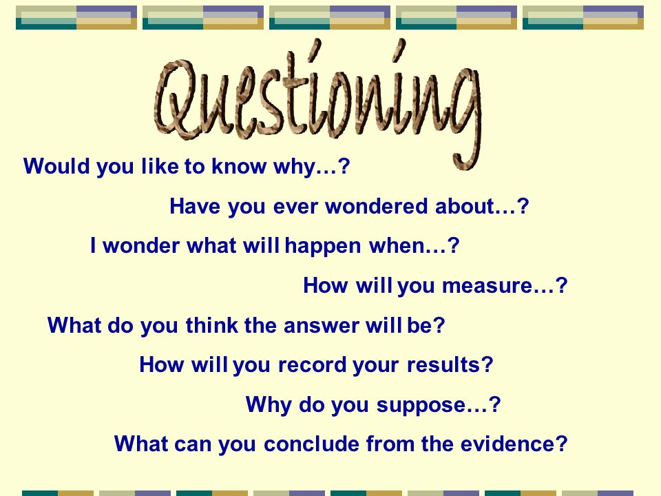 Questioning Would you like to know why…