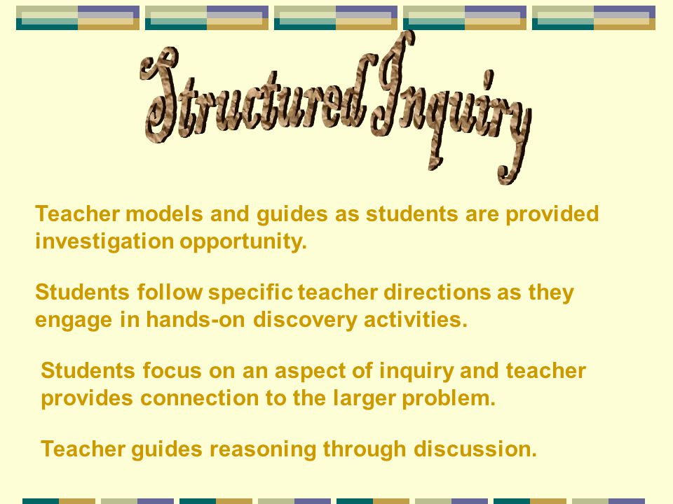 Structured Inquiry Teacher models and guides as students are provided investigation opportunity.