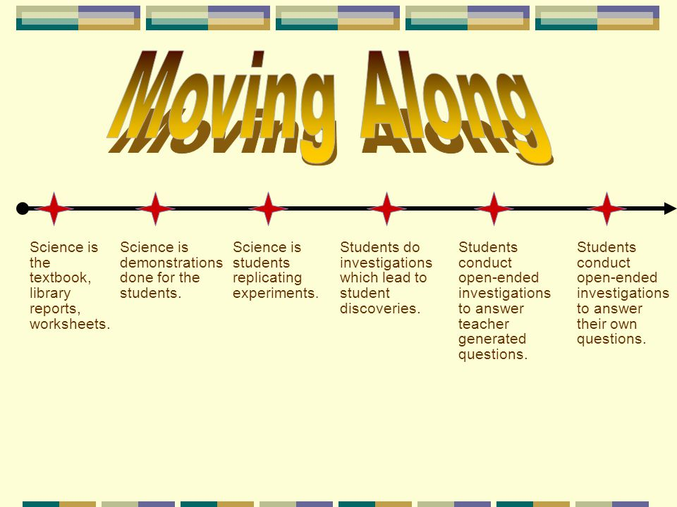 Moving Along Science is the textbook, library reports, worksheets.