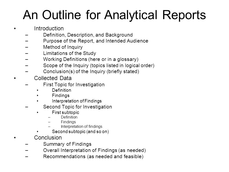 Analytical Report Format Formal Report Format Parts