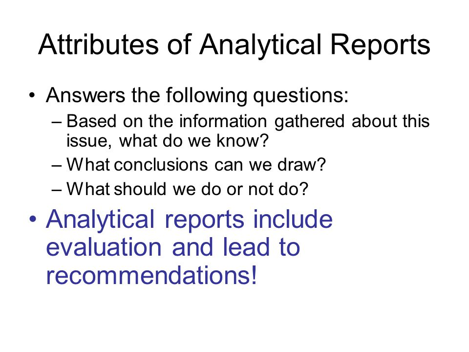 How to Write an Analytical Report