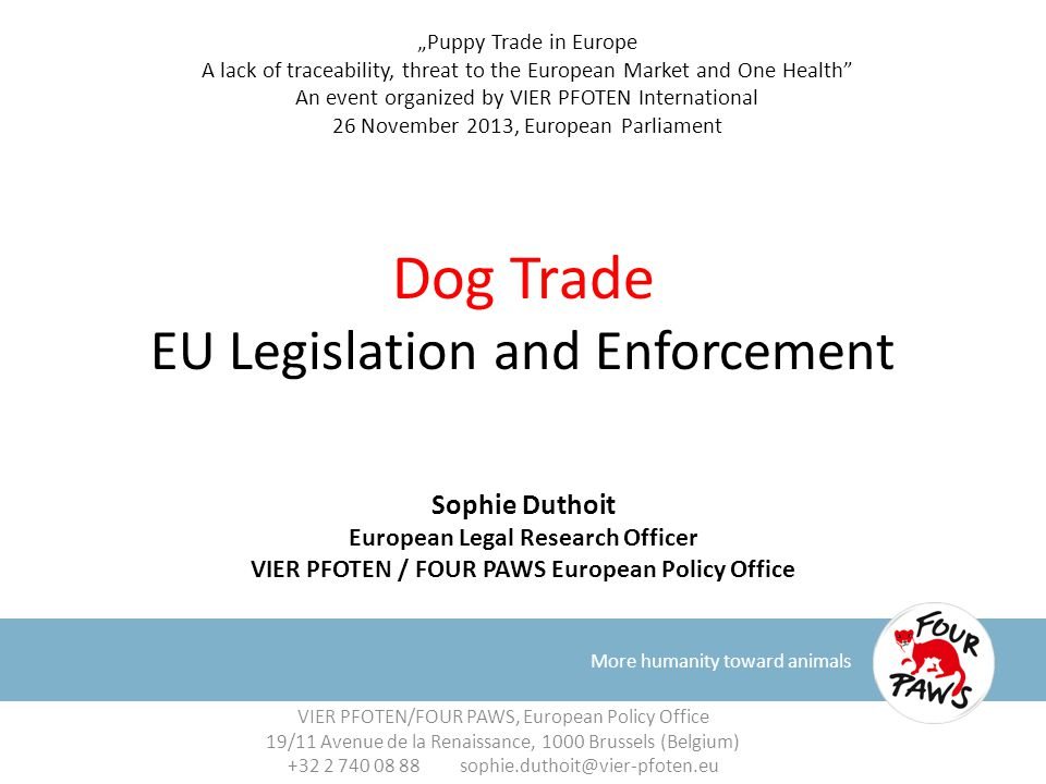 Dog Trade EU Legislation and Enforcement