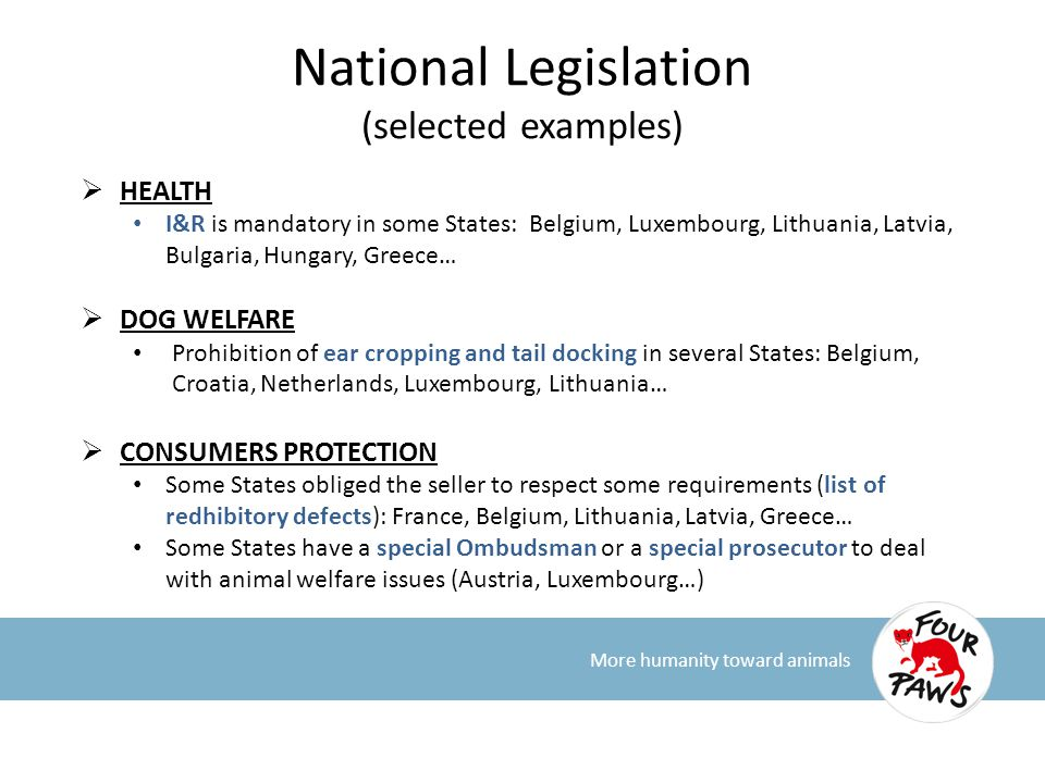 National Legislation (selected examples)