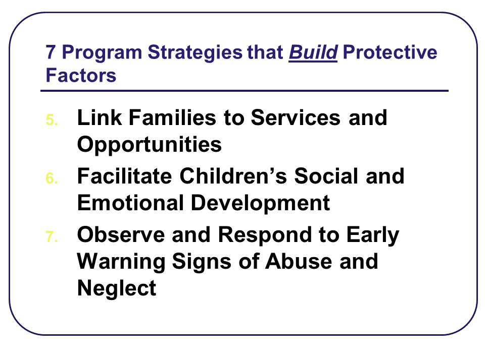 7 Program Strategies that Build Protective Factors