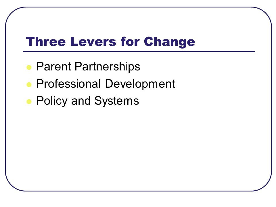 Three Levers for Change