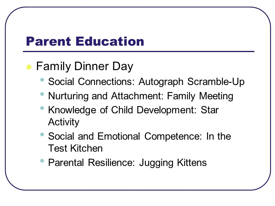 Parent Education Family Dinner Day
