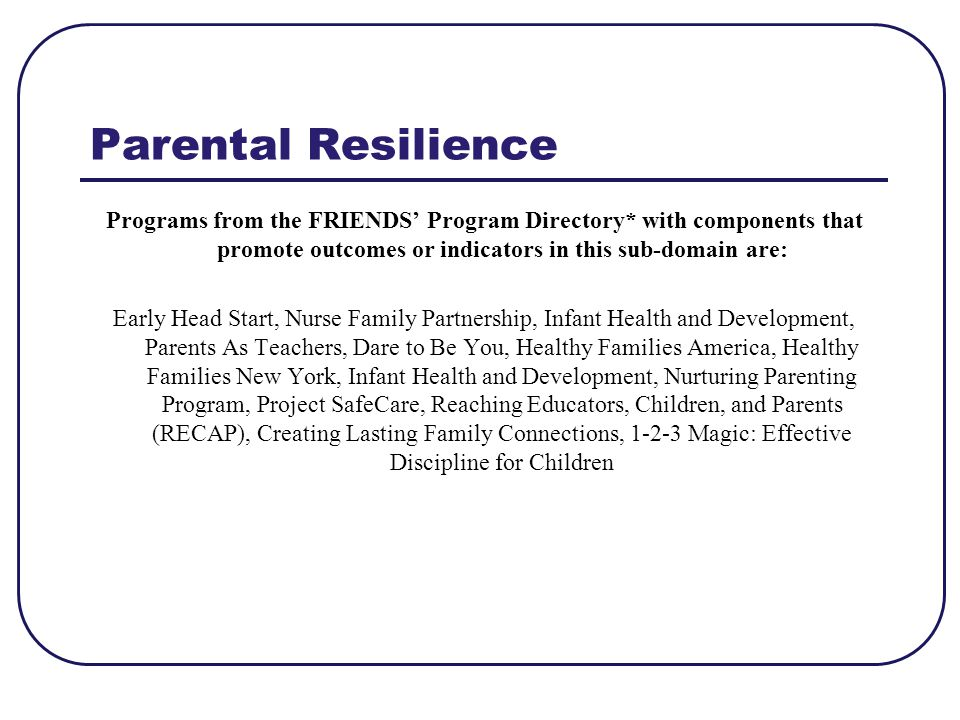 Parental Resilience Programs from the FRIENDS' Program Directory* with components that promote outcomes or indicators in this sub-domain are:
