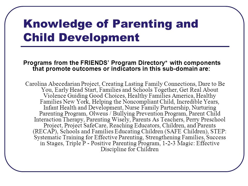 Knowledge of Parenting and Child Development