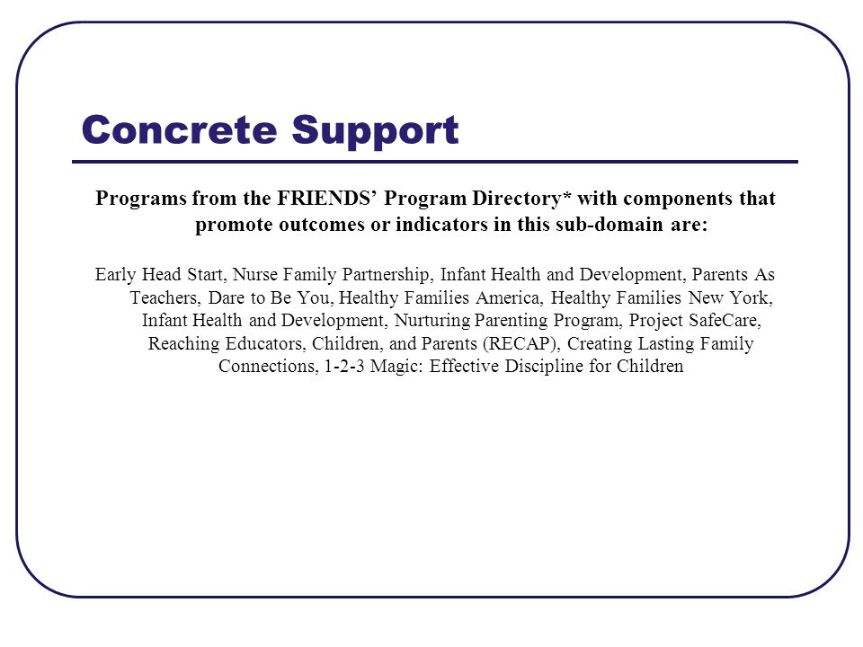 Concrete Support Programs from the FRIENDS' Program Directory* with components that promote outcomes or indicators in this sub-domain are:
