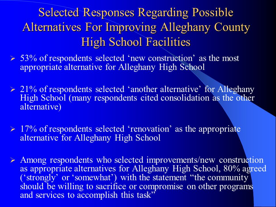 Selected Responses Regarding Possible Alternatives For Improving Alleghany County High School Facilities