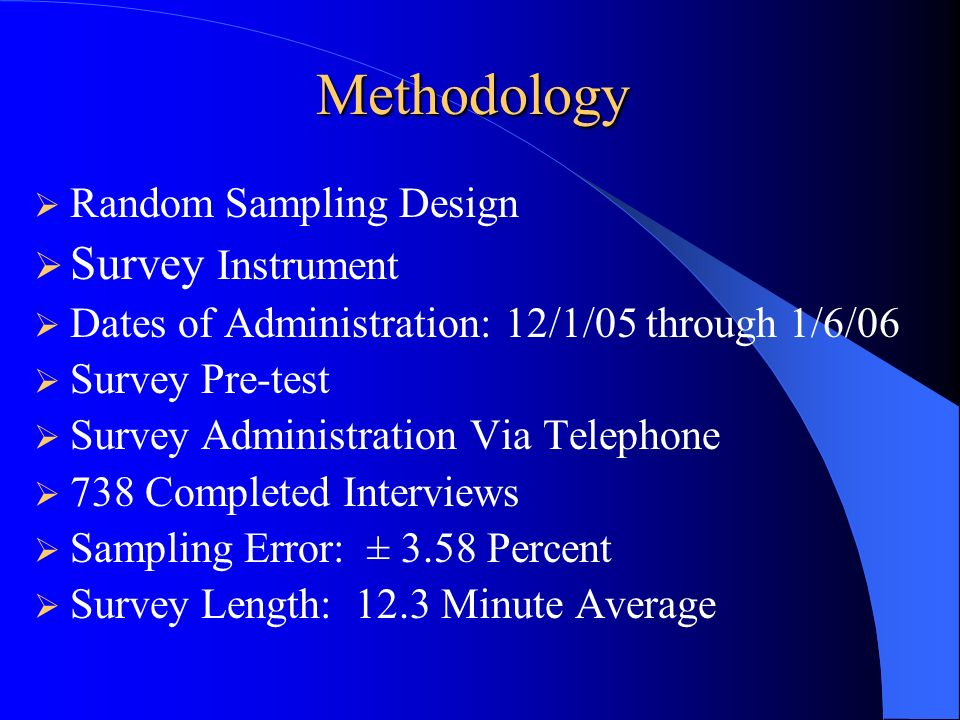 Methodology Survey Instrument Random Sampling Design