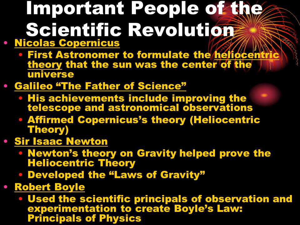 what ended up being your relevance of that scientific revolution