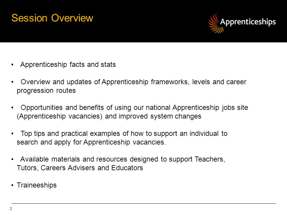 Session Overview Apprenticeship facts and stats