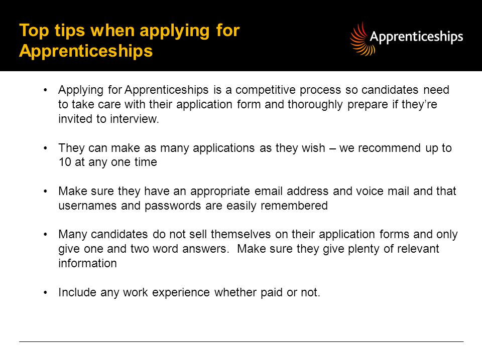 Top tips when applying for Apprenticeships