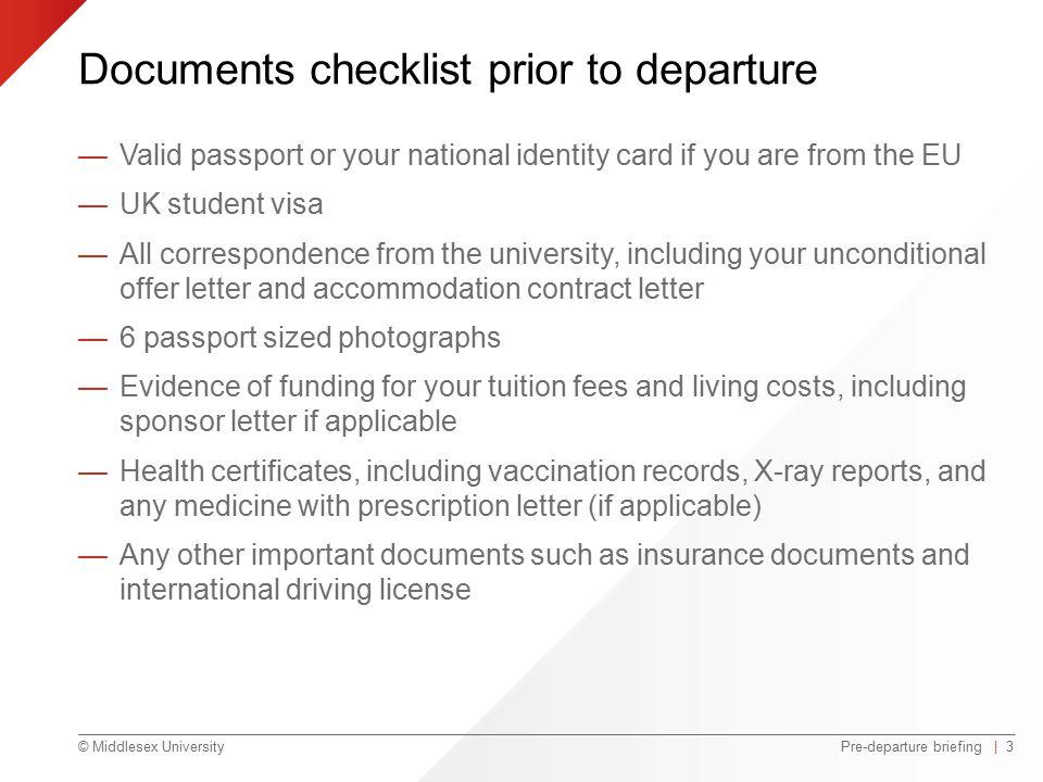 Pre departure briefing ppt video online download for Documents checklist passport