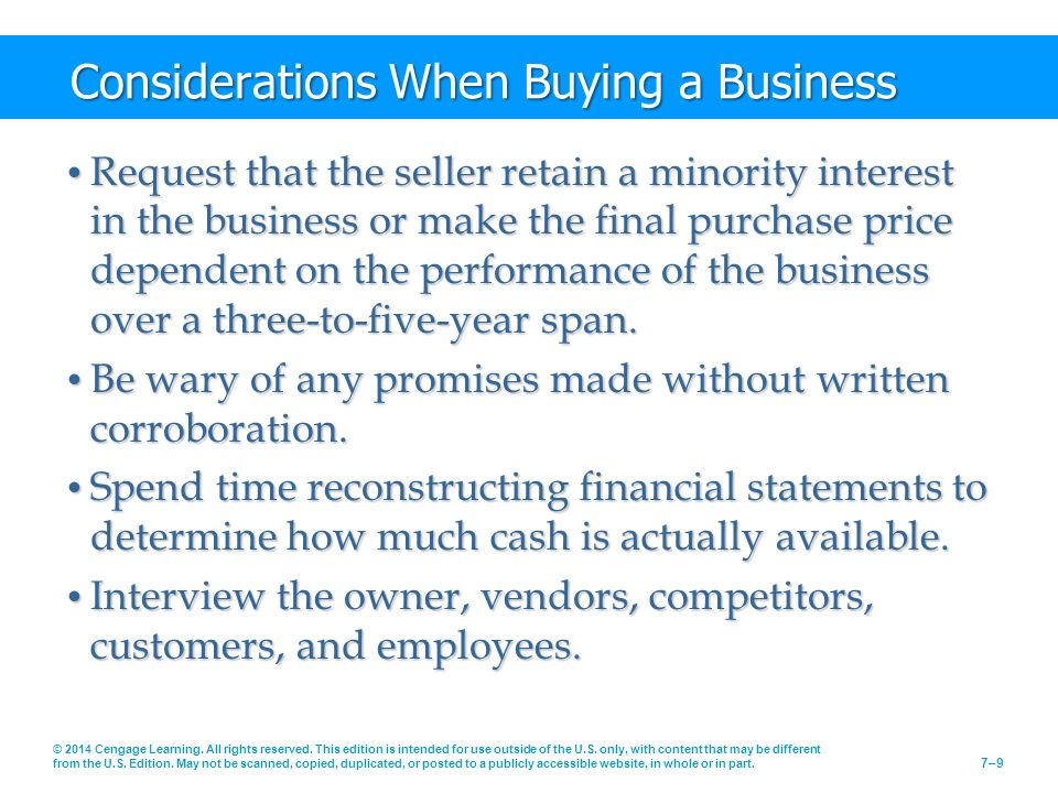 Considerations When Buying a Business