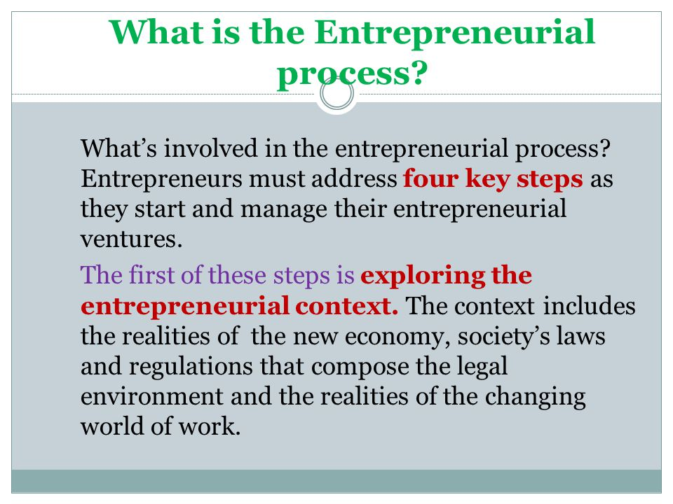 What is the Entrepreneurial process