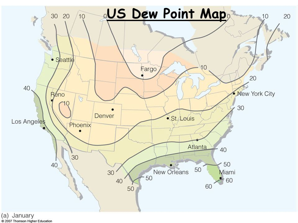 Atmospheric Moisture Relative Humidity And Dew Point Ppt Video - Us dewpoint map