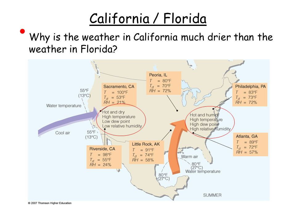 California / Florida Why is the weather in California much drier than the weather in Florida