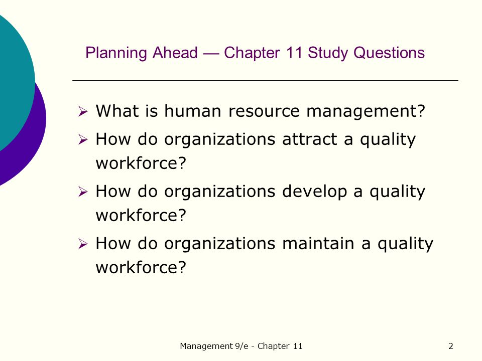 Planning Ahead — Chapter 11 Study Questions